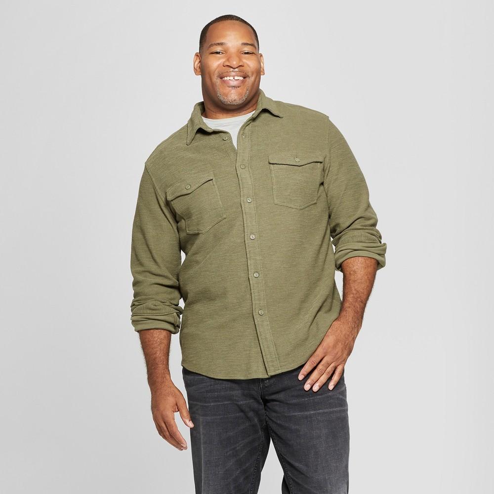 Men's Tall Long Sleeve Knit Utility Button-Down Shirt - Goodfellow & Co Forest Ranger Green LT