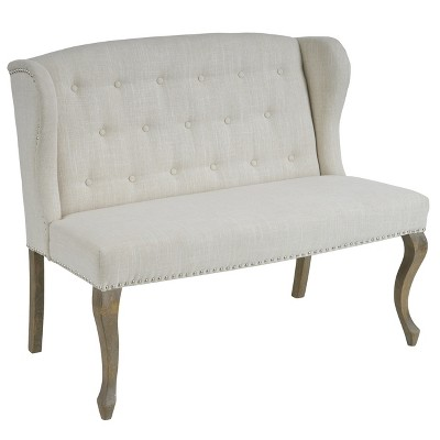 Adrianna Wingback Button Tufted Loveseat - Natural - Christopher Knight Home
