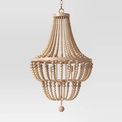 Large Chandelier Wooden Beads Double Tier Natural Tone - Opalhouse™
