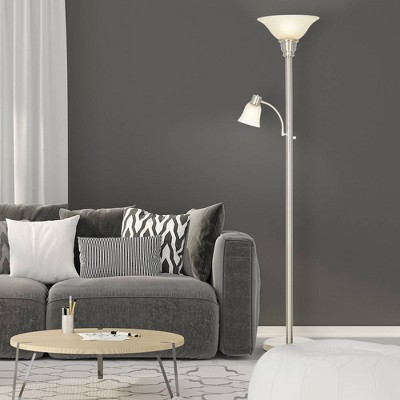 "71"" Floor Lamp with Reading Light Silver  - Cresswell Lighting"