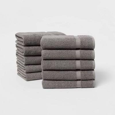 10pk Bath Towel Bundle Dark Gray - Room Essentials™