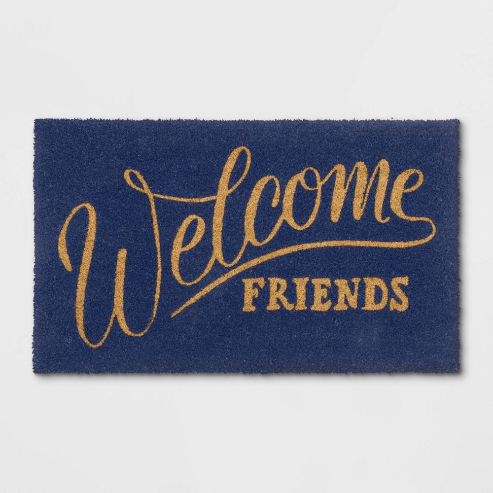 Welcome Friends Coir Doormat Navy
