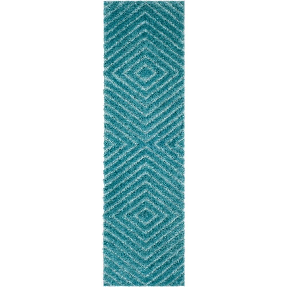 2 2 X8 Geometric Loomed Runner Blue Light Gray Safavieh
