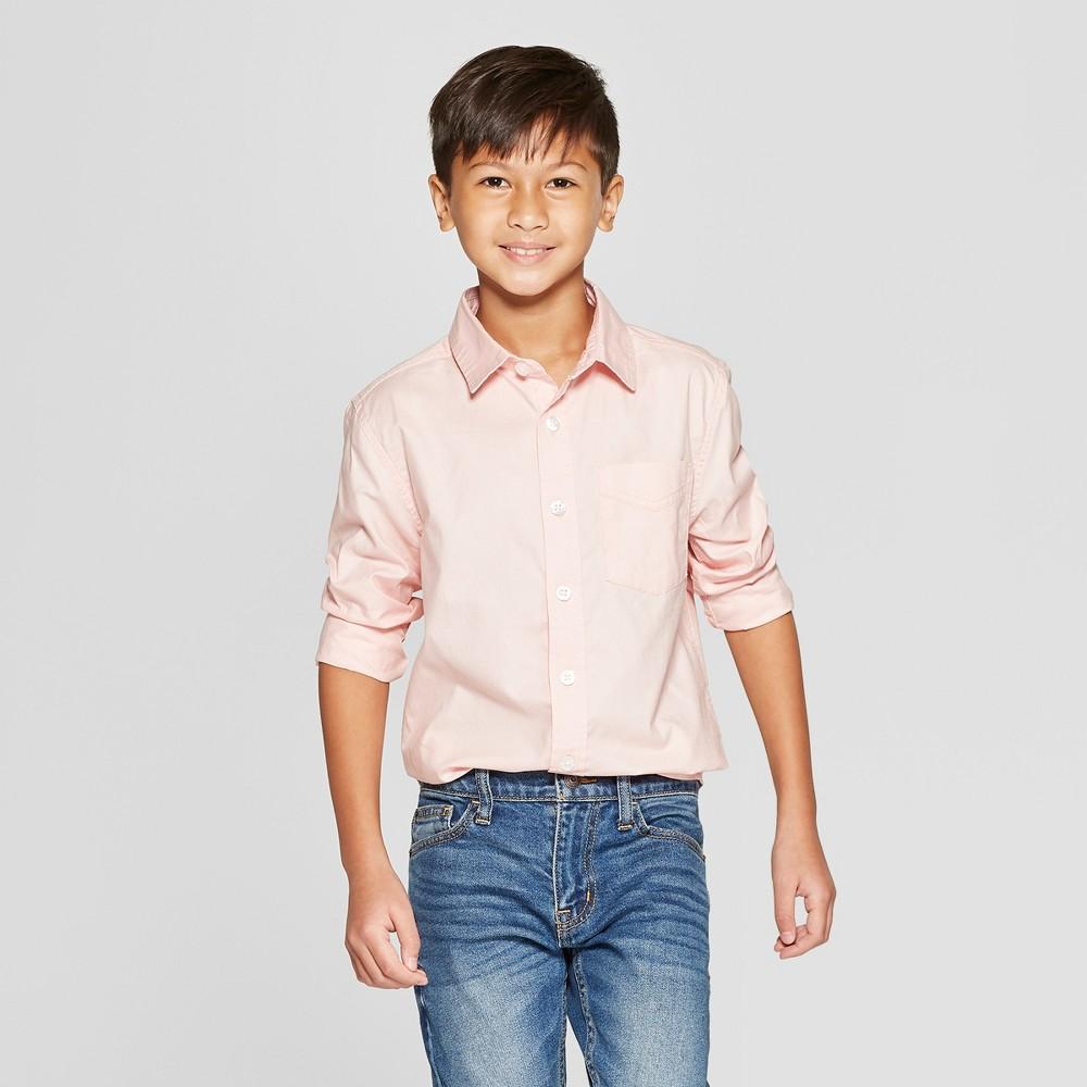 Boys' Long Sleeve Oxford Button-Down Shirt - Cat & Jack Pink L Husky