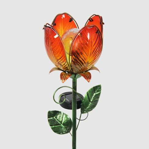 """36"""" Resin Solar Flower Garden Stake - Orange - Exhart - image 1 of 2"""