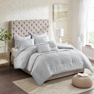 Joleen Full/Queen 8pc Clipped Jacquard Comforter/Coverlet Set Gray