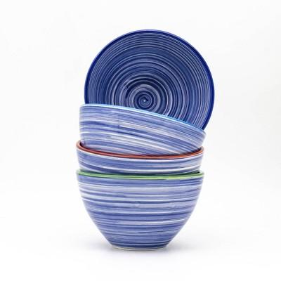 24oz 4pk Ceramic Raia Assorted Cereal Bowls Blue  - Euro Ceramica