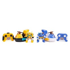 "Jada Toys Transformers Rescue Bots Academy Bumblebee vs. Chase RC Bumper Cars Remote Control Vehicles 6"" Yellow & Blue"