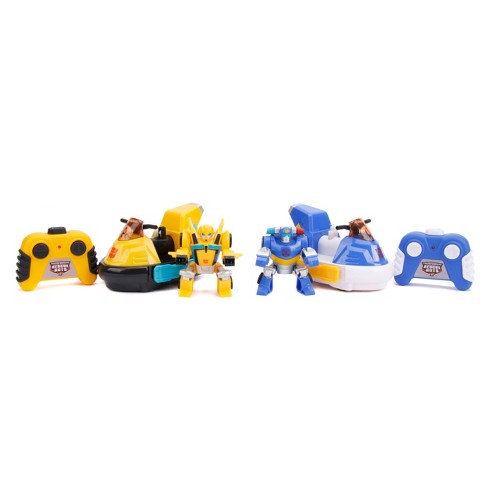 """Jada Toys Transformers Rescue Bots Academy Bumblebee vs. Chase RC Bumper Cars Remote Control Vehicles 6"""" Yellow & Blue - image 1 of 4"""