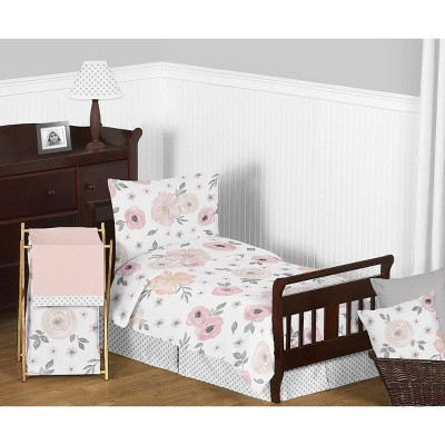 5pc Watercolor Floral Toddler Bedding - Sweet Jojo Designs