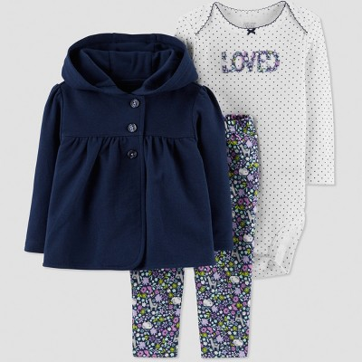 Baby Girls' 3pc Floral Cotton Bodysuit/Cardigan Set - Just One You® made by carter's Navy Newborn
