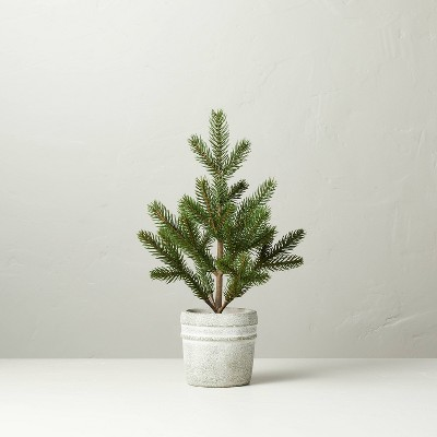 Faux Pine Tree in Textured Cement Pot - Hearth & Hand™ with Magnolia