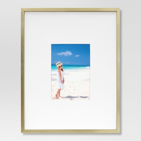 "11"" x 14"" Matted to 5"" x 7"" Thin Metal Gallery Frame Brass - Project 62™ - image 1 of 2"