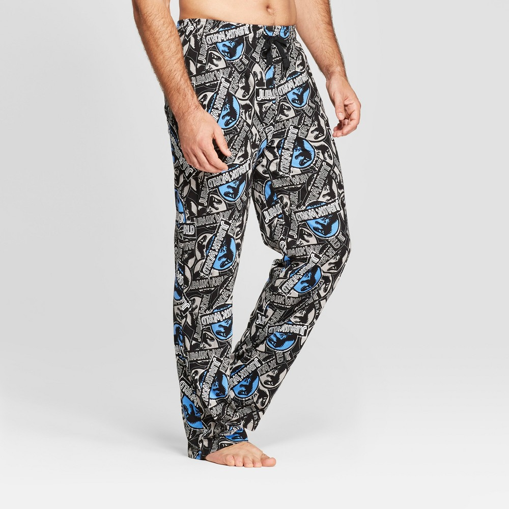 Men's Jurassic World Logos Pajama Pants - Black XL
