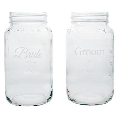 2ct Bride & Groom Wedding Mason Jars