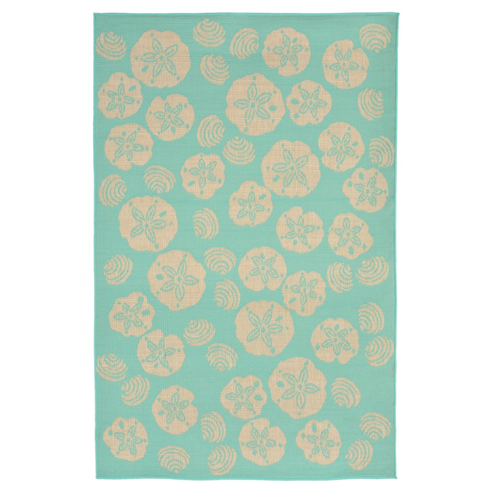 "Image of ""Terrace Indoor/Outdoor Shell Toss Turquoise Rug 7'10""""X9'10"""" Blue - Liora Manne"""