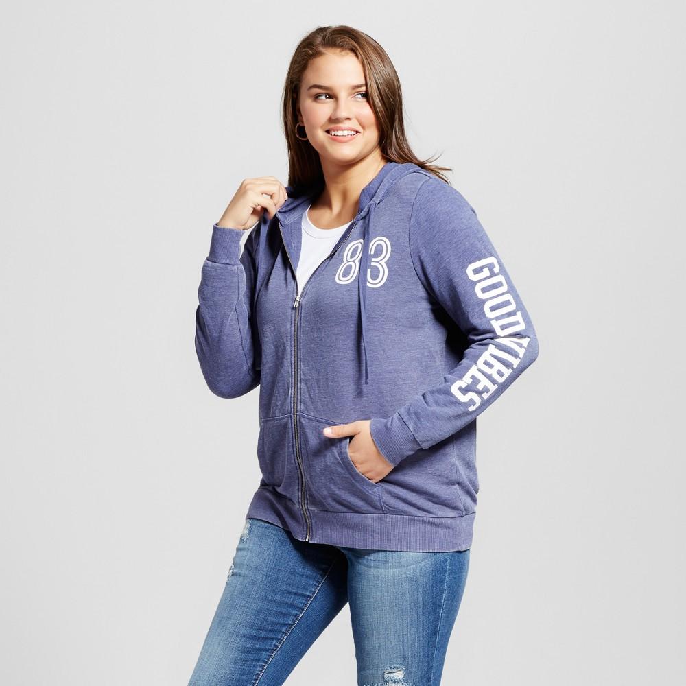 Women's Plus Size Good Vibes Zip Graphic Hoodie - Grayson Threads (Juniors') Navy 3X, Blue