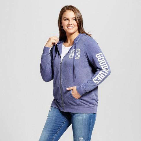 0eb81a4605e Women s Plus Size Good Vibes Zip Graphic Hoodie - Grayson Threads  (Juniors ) Navy