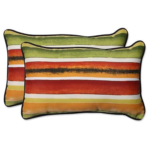 Pillow Perfect Dina Noir Outdoor Throw Pillow Set Multi Colored