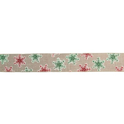 "Northlight Red and Green Snowflake Burlap Christmas Wired Craft Ribbon 2.5"" x 16 Yards"