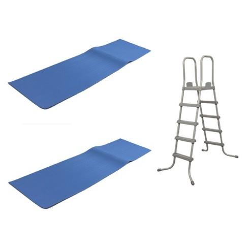 Bestway 52 In Steel Pool Ladder w/  9x36-Inch Vinyl Ladder Mat (2 Pack) - image 1 of 4