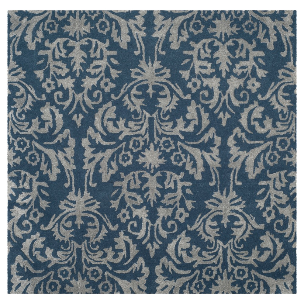 Navy/Gray Leaf Tufted Square Area Rug 5'X5' - Safavieh, Navy Ngray
