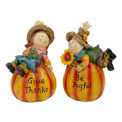"""Northlight Set of 2 Girl and Boy Scarecrow Pumpkins With Sunflowers and Leaf's Fall Figurines - 6.5"""""""