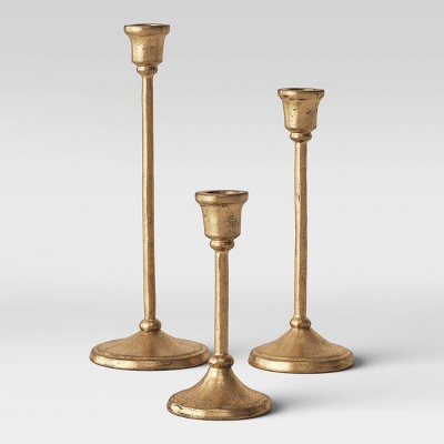 3pc Aluminum Taper Candle Holders Gold - Threshold™