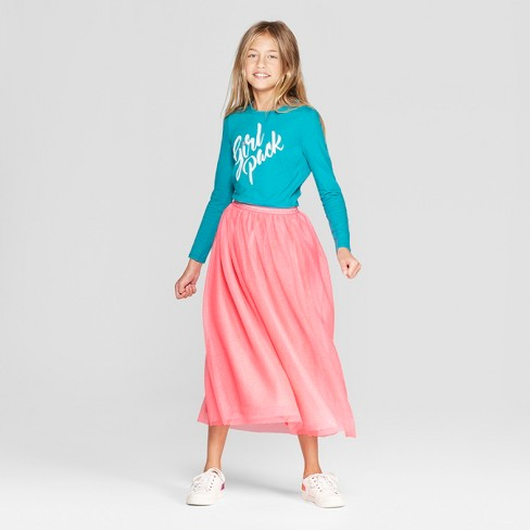 fa8f3b1bc7e Girls  Tulle Maxi Skirt - Cat   Jack™ Pink   Target