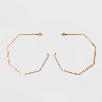 Open Flattened Bottom Hexagon Hoop Earrings - Universal Thread™ Gold