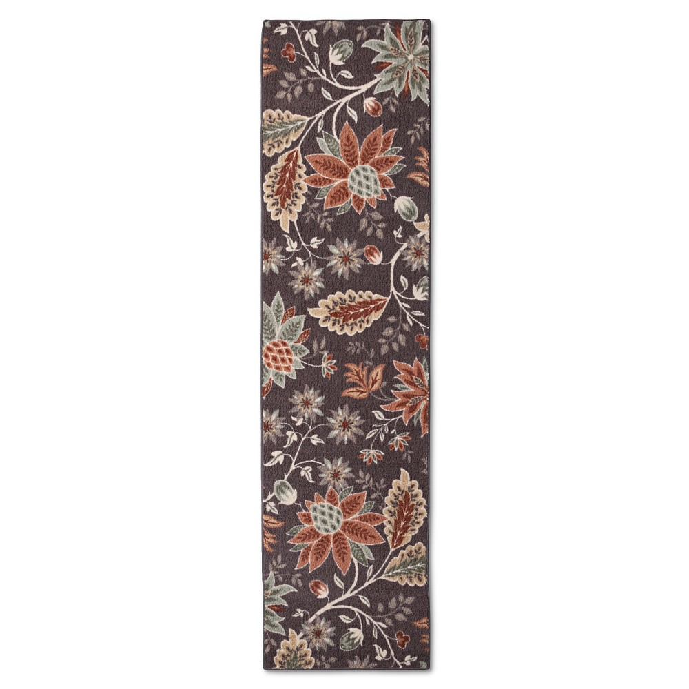 "Image of ""1'10""""X7' Floral Runner Gray - Maples, Size: 1'10""""X7' RUNNER"""