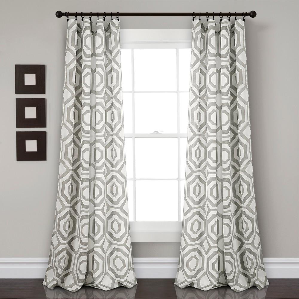 Octagon Blocks Room Darkening Window Curtain Panels Gray 52