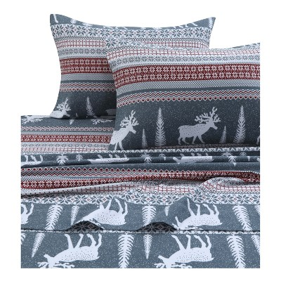 Tribeca Living Printed Cotton Flannel Extra Deep Pocket Sheet Set Queen - Red/Gray