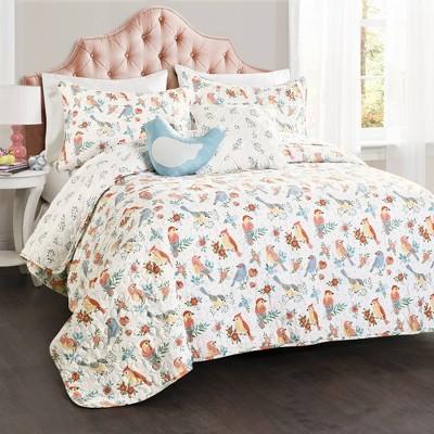 Chirpy Birds Bedding Set with Bird Throw Pillow - Lush Décor