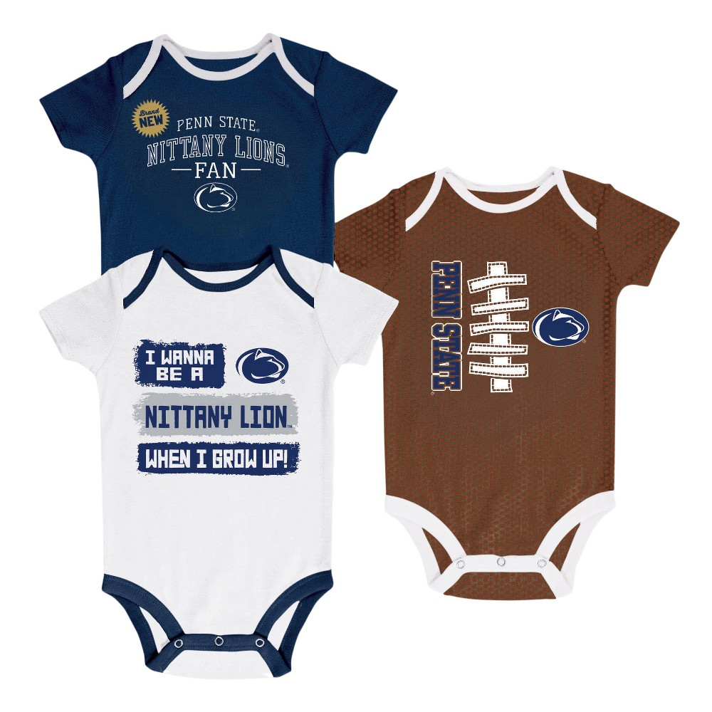 NCAA Newborn Bundle of Joy 3pk Bodysuit Set Penn State Nittany Lions - 6-9 M, Newborn Boy's, Size: 6-9M, Multicolored