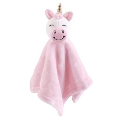 Hudson Baby Unisex Baby Animal Face Security Blanket - Pink Unicorn One Size