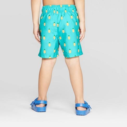 16608d9179 Toddler Boys' Pineapple Print Swim Trunks - Cat & Jack™ Aqua : Target
