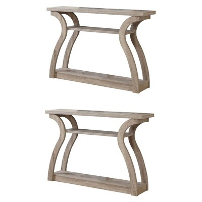 """Monarch Modern 3 Shelf 47"""" Wood Console Accent End Table, Dark Taupe (2 Pack)"""