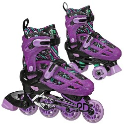 Roller Derby Lomond Girls Adjustable Inline-Quad Combo Skates Size 3-6 - Black