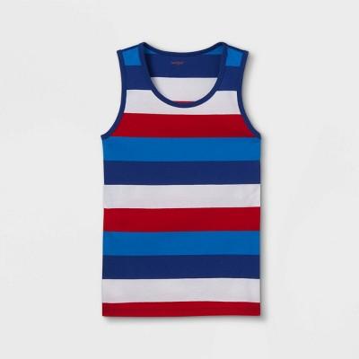 Boys' Adaptive 4th of July Striped Tank Top - Cat & Jack™ Blue