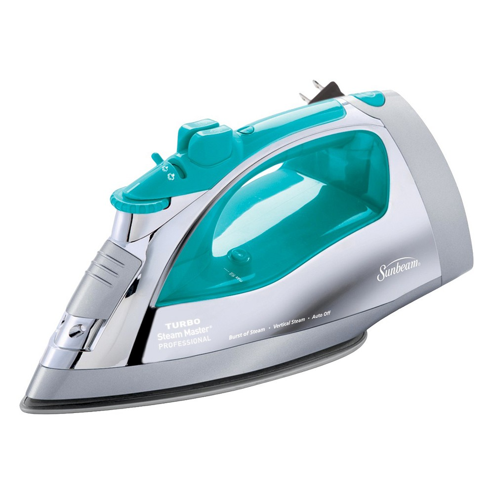 Sunbeam Steam Master Iron with Retractable Cord, Chrome & Teal, Gcsbsp-201-000, Blue/Silver