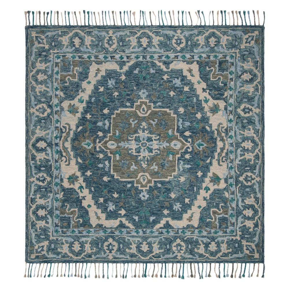 7'X7' Medallion Tufted Square Area Rug Dark Blue/Gray - Safavieh, Blue Gray
