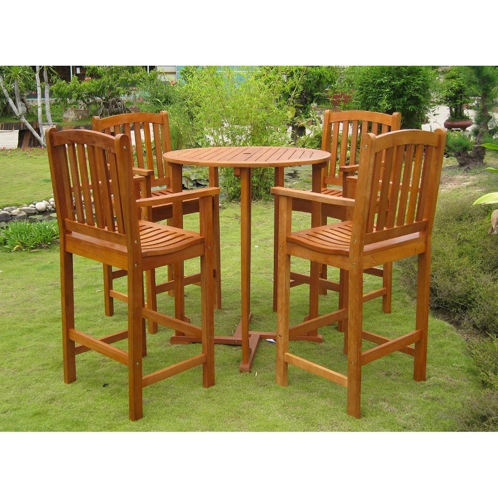 Royal Tahiti Albacete 5-Piece Wood Bar Height Patio Dining Furniture Set