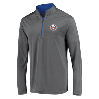 NHL New York Islanders Men's Defender Embossed 1/4 Zip Sweatshirt - Gray S
