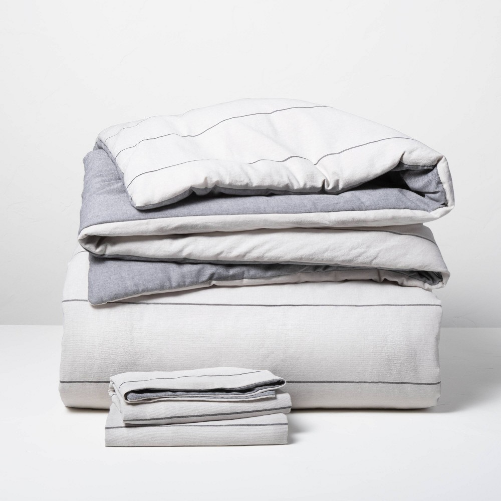 3pc King Stripe With Chambray Backing Comforter 38 Sham Set Gray Hearth 38 Hand 8482 With Magnolia