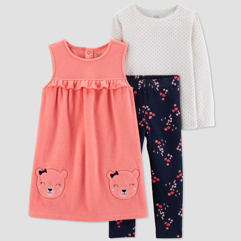 Toddler Girls' 3pc Bear Jumper Set - Just One You made by carter's Coral 3T, Pink