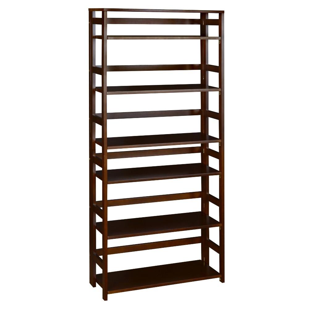 67 Cakewalk High Folding Bookcase Mocha Walnut Regency