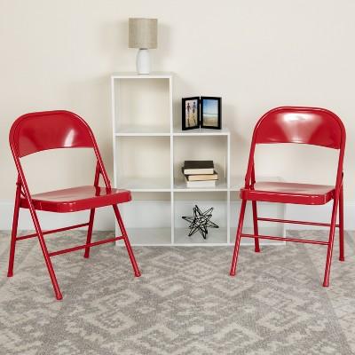 Flash Furniture 2 Pack HERCULES Series Double Braced Metal Folding Chair