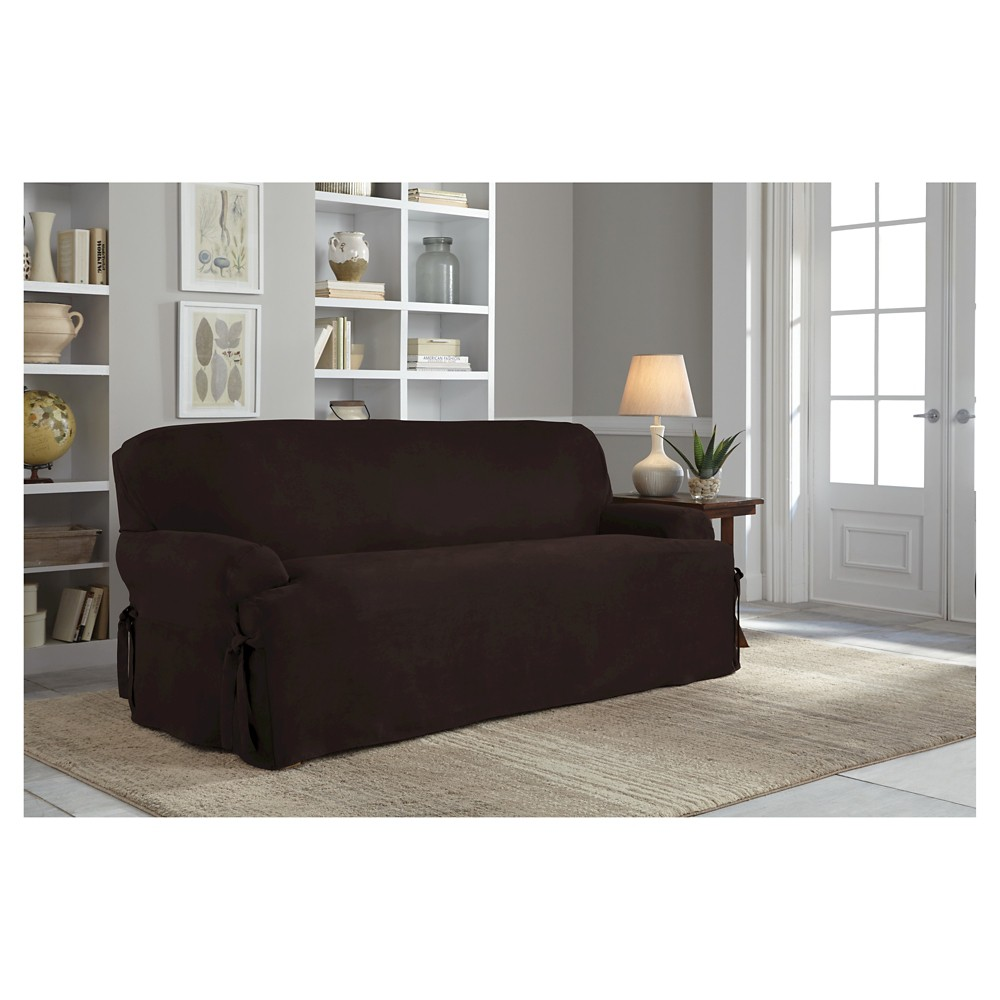 Chocolate (Brown) Relaxed Fit Smooth Suede Furniture Sofa Slipcover - Serta