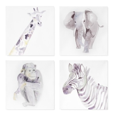 Wall Canvas Animals 4pk (10 x10 )- Cloud Island™ - Neutral Gray